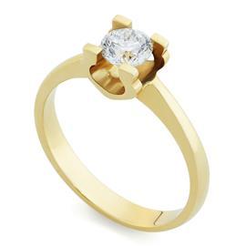 Помолвочное кольцо с 1 бриллиантом 0,50 ct 4/5 желтое золото 585°, артикул R-ЯК045