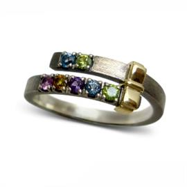 Кольцо Две дорожки серебро, артикул R-132899