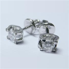 Серьги-пусеты в стиле Cartier с 2 бриллиантами 0,49 ct 4/6 белое золото 585° , артикул R-LP007-2