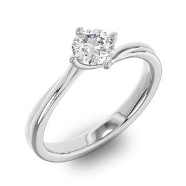 Помолвочное кольцо 1 бриллиантом 0,50 ct 4/5 из белого золота 585°, артикул R-D36640-2