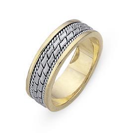 Обручальное кольцо из двухцветного золота 585 пробы, артикул R-СЕ028