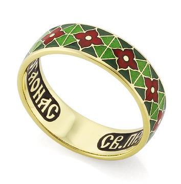 Венчальное кольцо с молитвой к преподобному Серафиму Саровскому, артикул R-КЗЭ0302