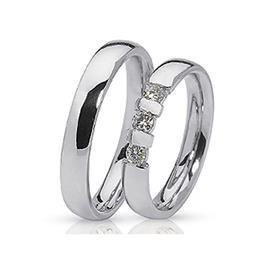 Обручальные кольца парные с бриллиантами из белого золота 585 пробы, артикул R-ТС 10030