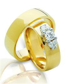 """Обручальные кольца парные из желтого и белого золота 585 пробы, серия """"Twin set"""", артикул R-ТС 3290/001"""