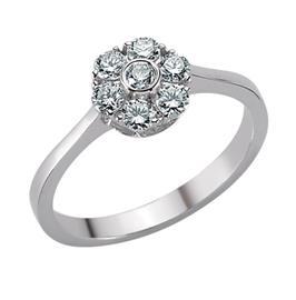 Кольцо с 7 бриллиантами 0,44 ct 4/5 из белого золота 585, артикул R-DRN09275-17