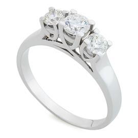 Помолвочное кольцо с 1 бриллиантом 0,32 ct 5/5 и 2 бриллианта 0,38 ct 5/5 белое золото 750°, артикул R-H0001