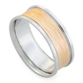 Обручальное кольцо дизайнерское из белого, розового золота, комфортная посадка, артикул R-E1001-23