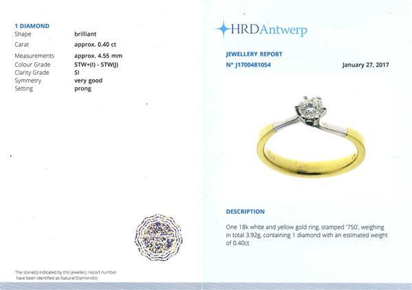 Помолвочное кольцо с 1 бриллиантом 0,40 ct 6/6  белое и желтое золото 750°
