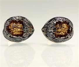 Запонки Орех из серебра 925 пробы с гальваническим покрытием черным родием и золотом, артикул R-43.01