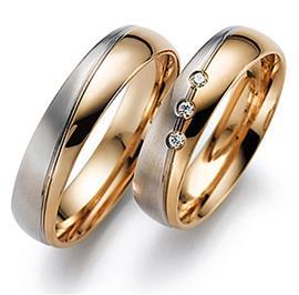 Обручальные кольца классические из белого и розового золота 585 пробы, артикул R-ТС 55-323-3