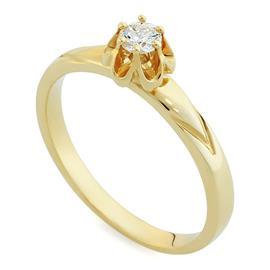 Помолвочное кольцо с 1 бриллиантом 0,16 ct 4/5 желтого золото 585°, артикул R-НП 039-1
