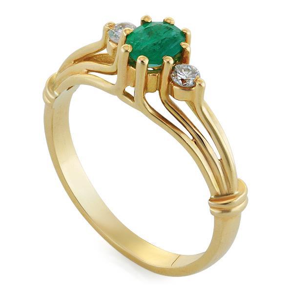 Кольцо с 1 изумрудом 0,33 ct 4/3 и 2 бриллиантами 0,1 ct 3/4 из желтого золота, артикул R-1407