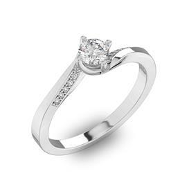 Помолвочное кольцо с 1 бриллиантом 0,40 ct 4/5  и 14 бриллиантами 0,04 ct 4/5 из белого золота 585°, артикул R-D41072-2
