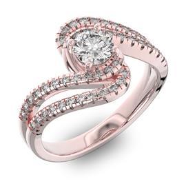 Помолвочное кольцо с 1 бриллиантом 0,45 ct 4/5  и 48 бриллиантами 0,38 ct 4/5 из розового золота 585°, артикул R-D42599-3