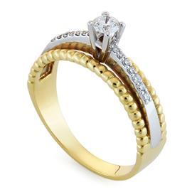 Кольцо с 1 бриллиантами 0,16 ct 4/4 и 14 бриллиантами 0,1 ct 4/4 из желтого и белого золота, артикул R-R53469