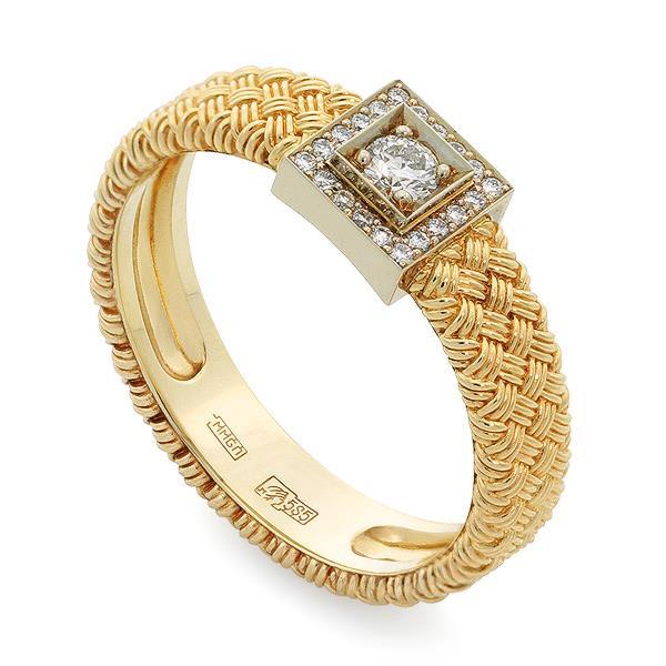 Кольцо с 1 бриллиантом 0,18 ct 3/5 и 20 бриллиантами 0,10 сt 3/5 из желтого и белого золота 585°, артикул R-Ко07Б210013