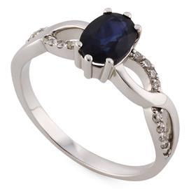 Кольцо с 1 сапфиром 1,10 ct 2/3 и 18 бриллиантами 0,13 ct 4/5 из белого золота, артикул R-XR13909
