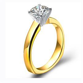 Помолвочное кольцо с 1 бриллиантом 0,40 ct 4/5  из желтого и белого золота 585°, артикул R-GGR32-1