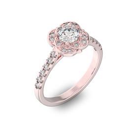 Помолвочное кольцо с 1 бриллиантом 0,45 ct 4/5  и 24 бриллиантами 0,29 ct 4/5 из розового золота 585°, артикул R-D36044-3