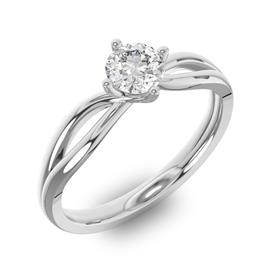 Помолвочное кольцо 1 бриллиантом 0,50 ct 4/5 из белого золота 585°, артикул R-D35946-2