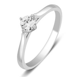 Кольцо с бриллиантом 0,25 ct 3/5  из белого золота 585 пробы, артикул R-НП 073-2.16