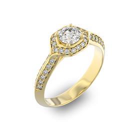 Помолвочное кольцо с 1 бриллиантом 0,45 ct 4/5  и 40 бриллиантами 0,28 ct 4/5 из желтого золота 585°, артикул R-D35968-1