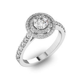 Помолвочное кольцо с 1 бриллиантом 0,45 ct 4/5  и 56 бриллиантами 0,37 ct 4/5 из белого золота 585°, артикул R-D40731-2