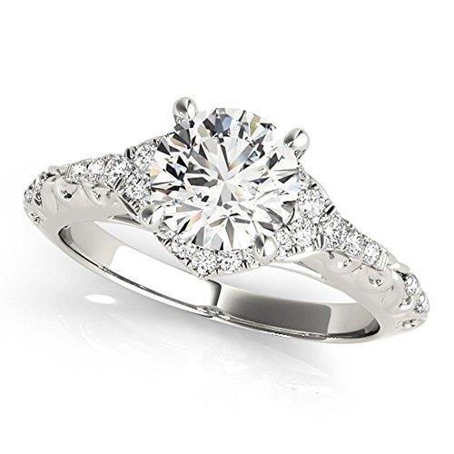Купить Помолвочное кольцо из белого золота 585° с 1 бриллиантом 0 b343c179907e8