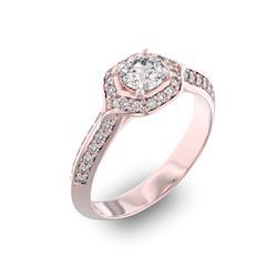 Помолвочное кольцо с 1 бриллиантом 0,45 ct 4/5  и 40 бриллиантами 0,28 ct 4/5 из розового золота 585°, артикул R-D35968-3