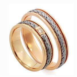 Обручальные кольца парные с бриллиантами из золота 585 пробы, артикул R-ТС L1912-3Б1