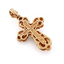 Православный нательный крестик из розового и белого золота 585 пробы, артикул R-3193КБ