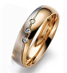 Обручальное кольцо с 3 бриллиантами белое и розовое золото 585 пробы, артикул R-55-323-3