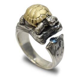 Кольцо Черепашка серебро, артикул R-133206