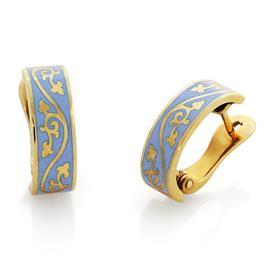 Серьги из желтого золота с голубой эмалью, артикул R-СЗЭ 01 (г)