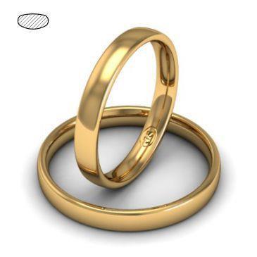 Обручальное кольцо классическое из розового золота, ширина 3 мм, комфортная посадка, артикул R-W435R