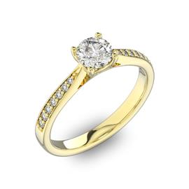 Помолвочное кольцо с 1 бриллиантом 0,45 ct 4/5  и 14 бриллиантами 0,8 ct 4/5 из желтого золота 585°, артикул R-D40516-1