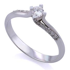 Помолвочное кольцо с 1 бриллиантом 0,07 ct 2/5 и 16 бриллиантами 0,07 ct 3/5 белое золото 750° , артикул R-TRN05410-005
