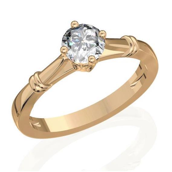 Кольцо с 1 бриллиантом 0,30 ct 4/5  из розового золота 585°, артикул R-D30037-3