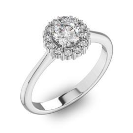 Помолвочное кольцо с 1 бриллиантом 0,5 ct 4/5  и 12 бриллиантами 0,24 ct 4/5 из белого золота 585°, артикул R-D42195-2