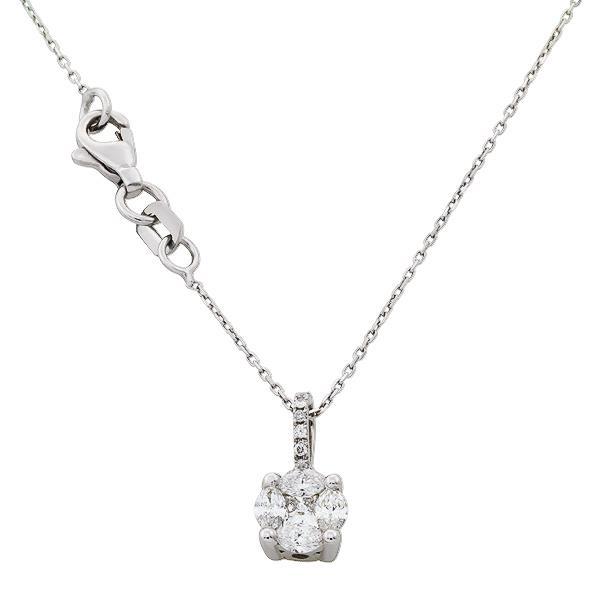 Цепь с подвеской из белого золота 750° с 12 бриллиантами  0,44 ct , артикул R-DNK09443-001