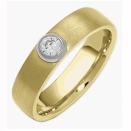 Обручальное кольцо из золота 585 пробы с бриллиантом, артикул R-1468w/001