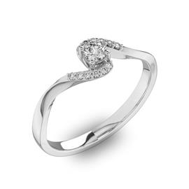 Помолвочное кольцо с 1 бриллиантом 0,15 ct 4/5  и 12 бриллиантами 0,04 ct 4/5 из белого золота 585°, артикул R-D40459-2