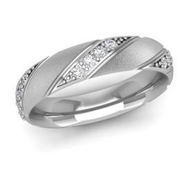 Обручальное кольцо дизайнерское из белого золота с бриллиантами, артикул R-W45366-2