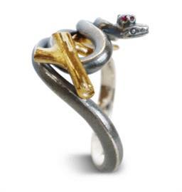 Кольцо Змейка серебро, артикул R-132306