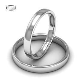 Обручальное кольцо классическое из белого золота, ширина 3 мм, комфортная посадка, артикул R-W335W