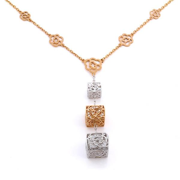 Колье из белого и розового золота 750 пробы с 80 бриллиантами 0,43 карат