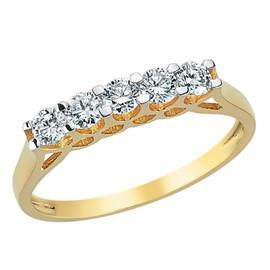 Кольцо с 5 бриллиантами 0,46 ct 4/5 из желтого золота, артикул R-ALY01084-03