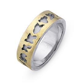 Обручальное кольцо из двухцветного золота 585 пробы, артикул R-СЕ029
