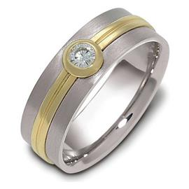 Обручальное кольцо с круглым бриллиантом из золота 585 пробы, артикул R-1468