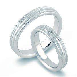 """Обручальные кольца из белого золота 585 пробы серии """"Twin Set"""", артикул R-ТС А155"""